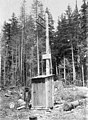 Powerline pole with a posted warning sign for vandalism, Washington, ca 1901 (WASTATE 1688).jpeg