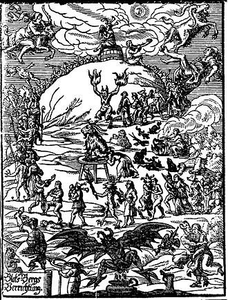 Satanism - Title illustration of Johannes Praetorius (writer) Blocksbergs Verrichtung (1668) showing many traditional features of the medieval Witches' Sabbath