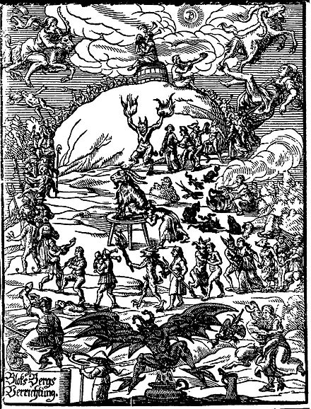 Title illustration of Johannes Praetorius (writer) Blocksbergs Verrichtung (1668) showing many traditional features of the medieval Witches' Sabbath Praetorius Blocksberg.jpg