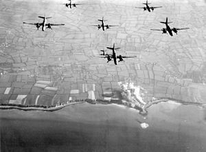 Pointe du Hoc - Pre-invasion bombing of Pointe du Hoc by 9th Air Force A-20 Havoc bombers