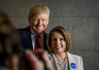 Donald Trump with Pelosi in January 2017 President-elect Donald J. Trump and House Minority Leader Nancy Pelosi, January 20, 2017.jpg