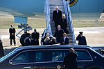 President Barack Obama and guests exit Air Force One at McGhee Tyson Air National Guard Base, Tenn., Jan. 9, 2015.jpg