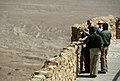 President George W. Bush, Laura Bush, Ehud Olmert, and Aliza Olmert stand on the upper level of Masada.jpg