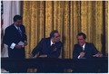 President Nixon and General Secretary Brezhnev signing Scientific and Technical Cooperation Agreement on Peaceful... - NARA - 194522.tif