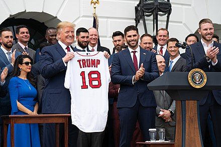 Red Sox at the White House with President Trump on May 9, 2019 President Trump Welcomes the Boston Red Sox to the White House (47028933704).jpg