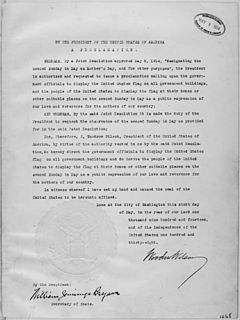 President Woodrow Wilson's Mother's Day Proclamation of May 9, 1914 (Presidential Proclamation 1268). - NARA - 299965.jpg