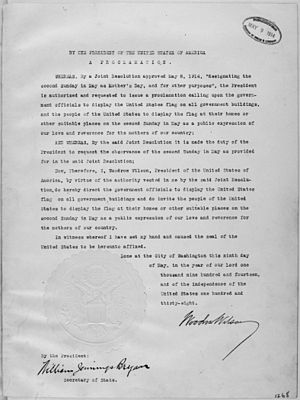 Mother's Day (United States) - President Wilson's Mother's Day Proclamation of May 9, 1914