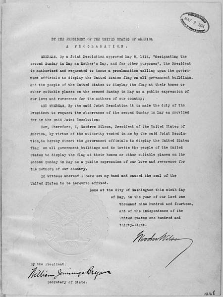Ficheiro:President Woodrow Wilson's Mother's Day Proclamation of May 9, 1914 (Presidential Proclamation 1268). - NARA - 299965.jpg