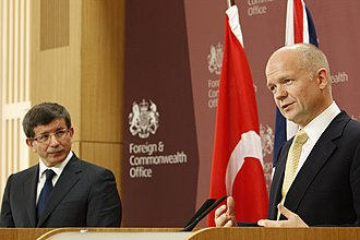 Ahmet Davutoğlu - Davutoğlu with former British Foreign Secretary William Hague during a joint press conference, 2010