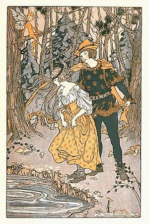 Alice Bolam Preston - Frontispiece by Alice Bolam Preston for The Green Forest Fairy Book by Loretta Ellen Brady (1920)