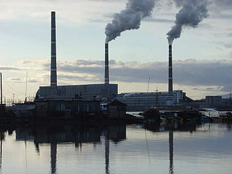 Carbon tax - A coal-fired power plant in Luchegorsk, Russia. A carbon tax would tax the CO2 emitted from the power station.