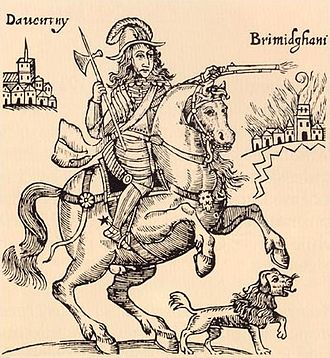"Familiar spirit - Prince Rupert and his ""familiar"" dog in a pamphlet titled ""The Cruel Practices of Prince Rupert"" (1643)."