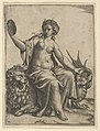 Prudence as a young woman, sitting on a lion and holding the neck of a dragon with her left hand, holding a mirror in her right hand MET DP854367.jpg