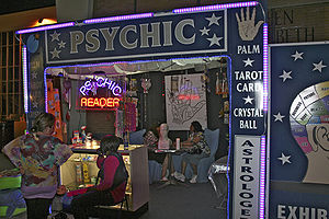 Psychic reading - Psychic reader booth at a fair.