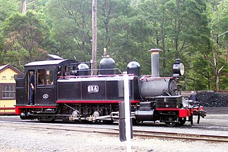 Narrow-gauge lines of the Victorian Railways - NA locomotive No. 12, in the Black with Red livery used in the early preservation era, at Belgrave on the Puffing Billy Railway.