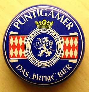 Puntigam - Crown cap of a Puntigamer beer.
