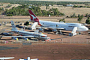 Qantas Boeing 707 and Boeing 747-200 at Longreach's Qantas Founders Outback Museum