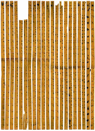 Decimal - The world's earliest decimal multiplication table was made from bamboo slips, dating from 305 BC, during the Warring States period in China.