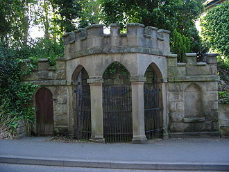 "Chalybeate - This rather ornate spring well is in the village of Quarndon. A plaque inside the well has the following description ""17th century chalybeate spring well. Once famous spa noted for medicinal waters containing iron. Visited by Daniel Defoe in 1727""."