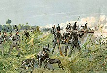 Die Braunschweiger in der Schlacht bei Quatre-Bras am 16. Juni 1815. (Quelle: Wikimedia)