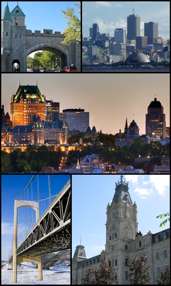 Top left: Saint Louis Gate in Ramparts of Quebec City; Top right: View of downtown Vieux Quebec Cap Blanc Colline Parlementaine and Bassin Louise waterfront area from Saint Laurent Street in Levis area; Centre: View of Frontenac Castle and The Holy Trinity Cathedral in downtown Quebec City; Bottom left: Pierre Laporte Bridge, Bottom right:Quebec national assembly