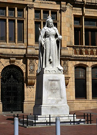 Donkin Heritage Trail - The Queen Victoria statue in front of the Main Library, Port Elizabeth, South Africa.