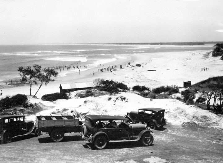 Queensland State Archives 1105 View of Beach showing Bribie Island and entrance to Pumicestone Channel Caloundra December 1930
