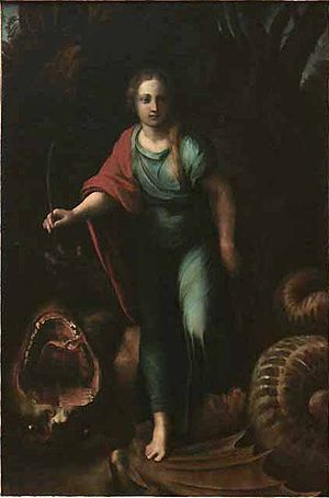 St Margaret and the Dragon (Raphael) - Image: Raffaello e giulio romano, santa margherita, louvre
