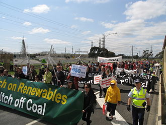 Hazelwood Power Station - 150 attendees - most from Melbourne - marched to the station on the International Day of Climate Action, 10 October 2010.