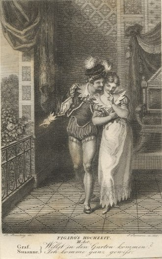 The Marriage of Figaro - Early 19th-century engraving depicting Count Almaviva and Susanna in act 3