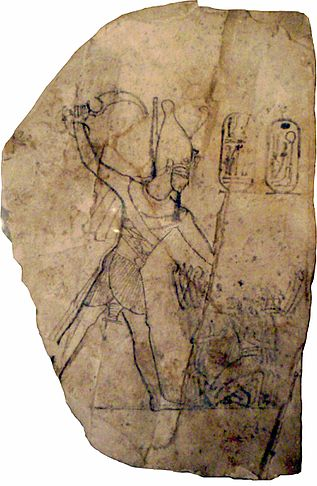 Limestone ostracon depicting Ramesses IV smiting his enemies. RamessesIV-SmitingHisEnemiesOnAnOstracon MuseumOfFineArtsBoston.jpg