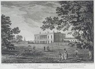 Francis Hosier - The Ranger's House, Greenwich. by George Robertson,1791. Built about 1700–20 for Captain Francis Hosier. National Maritime Museum, London. (PT2659)