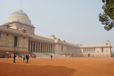Rashtrapati Bhavan, formerly known as Viceroy's House, was designed by Lutyens. Rashtrapati Bhavan Wide New Delhi India.jpg
