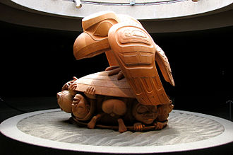 Raven Tales - Bill Reid's Raven and The First Men (1980), UBC Museum of Anthropology, depicts a scene from the Haida creation myth. The Raven represents both the creator and trickster figures, common to many mythologies.
