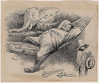 Equal Protection Clause - This is a drawing by E. W. Kemble shows a sleeping congress with a broken 14th Amendment. It makes the case that Congress ignored its constitutional obligations to Black Americans.