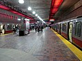 Red Line trains at Alewife station, January 2013.jpg