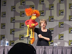 Karen Prell - Karen Prell and Red Fraggle at Comic Con.
