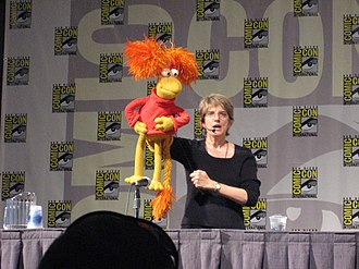 Karen Prell - Karen Prell and Red Fraggle at Comic Con.