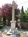 Red marble stone cross (Crucifix). Listed ID 790.- Zsolnai Rd. and Lomnici Rd cnr, Öreghegy, Székesfehérvár, Fejér county, Hungary.JPG