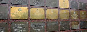 Battle of Majar al-Kabir - The plates of the six RMPs on the Basra memorial wall at the NMA