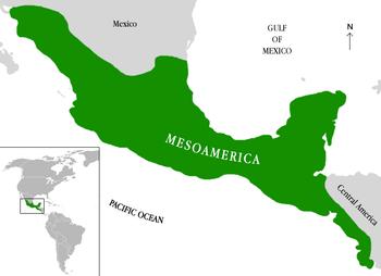 Location of Mesoamerica in the Americas.