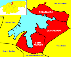 Location of Casablanca (the northernmost of  the 3 wards) within Regla and Havana