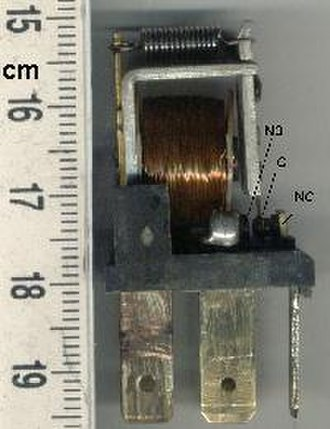 Relay - Automotive-style miniature relay, dust cover is taken off