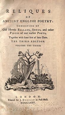 title page of Percy's Reliques of Ancient Poetry