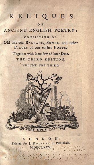Reliques of Ancient English Poetry - Title page of the third edition of Reliques of Ancient English Poetry (1775).