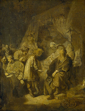 Joseph relating his dreams to his parents and brothers