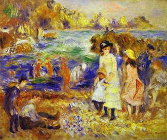 Saint Martin, Guernsey - Children on the Beach of Guernsey, 1883, a painting of Petit Port by Pierre-Auguste Renoir