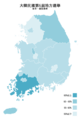 Republic of Korea local election 2014 turnout (metropolitan city or province) zh-hant.png