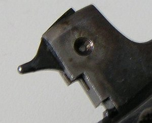 Firing pin - Hammer with integrated firing pin on a Smith & Wesson Model 13 revolver