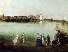 Blick über den Grienericksee auf Rheinsberg mit dem Schloss. Gemälde von Knobelsdorff, um 1737 (Ausschnitt) (Quelle: Wikimedia)